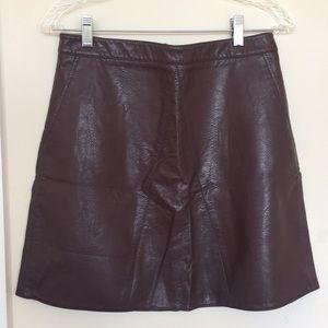 Zara Maroon Pleather mini skirt